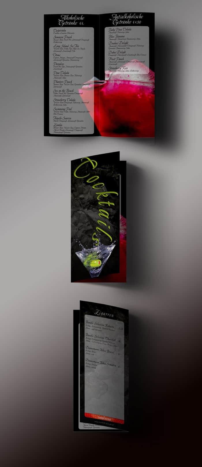 Folderdesign Cocktailkarte