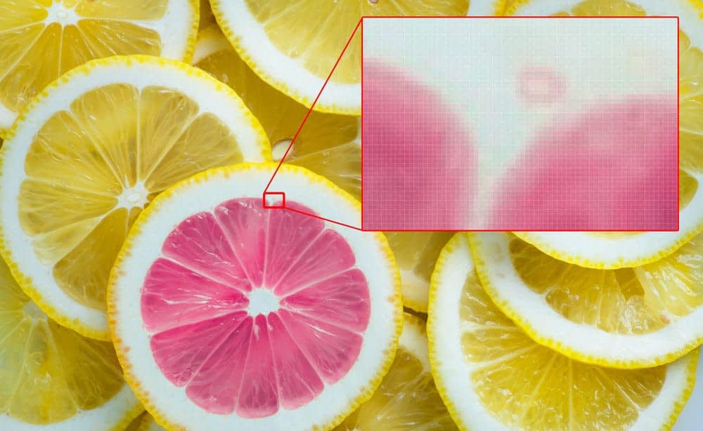 Bildausschnitt Vergrößerung der Pixel und Unterschied DPI vs PPI