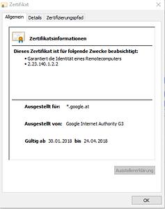 Zertifikat Google.at Beispiel